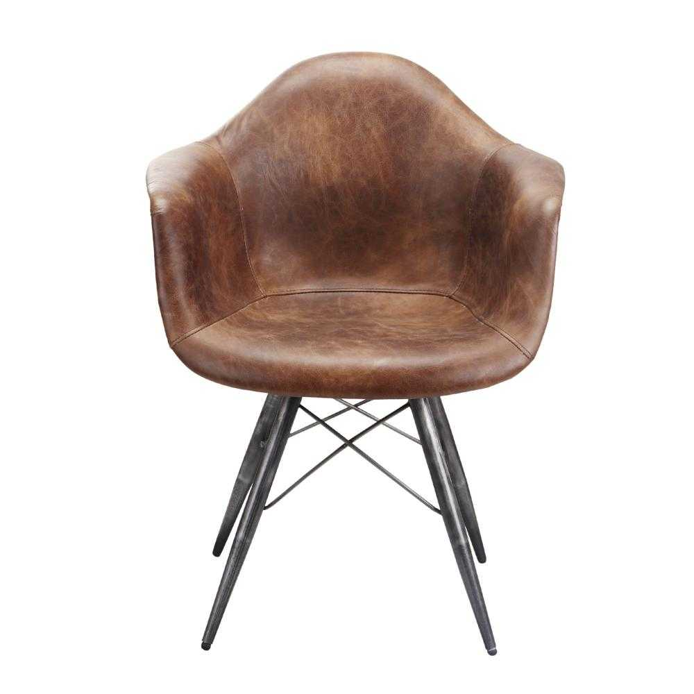 Eclectic Style To Leather Accent Chair: Drew Leather Accent Chair In Rich Whiskey