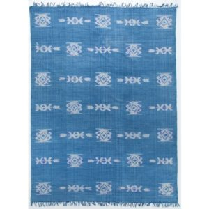 distressed tribal rug faded blue
