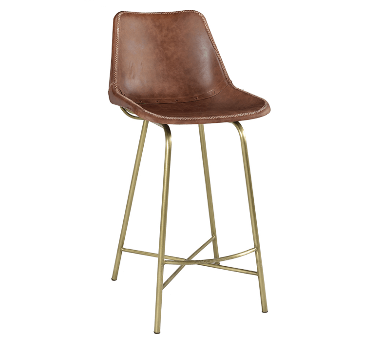 Leather Hand Stitched Bar Stools With Gold Base Eclectic