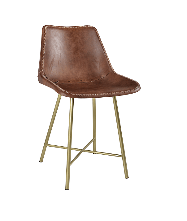 Leather Hand Stitched Dining Chairs With Gold Base ~ Eclectic Goods :  Eclectic Goods