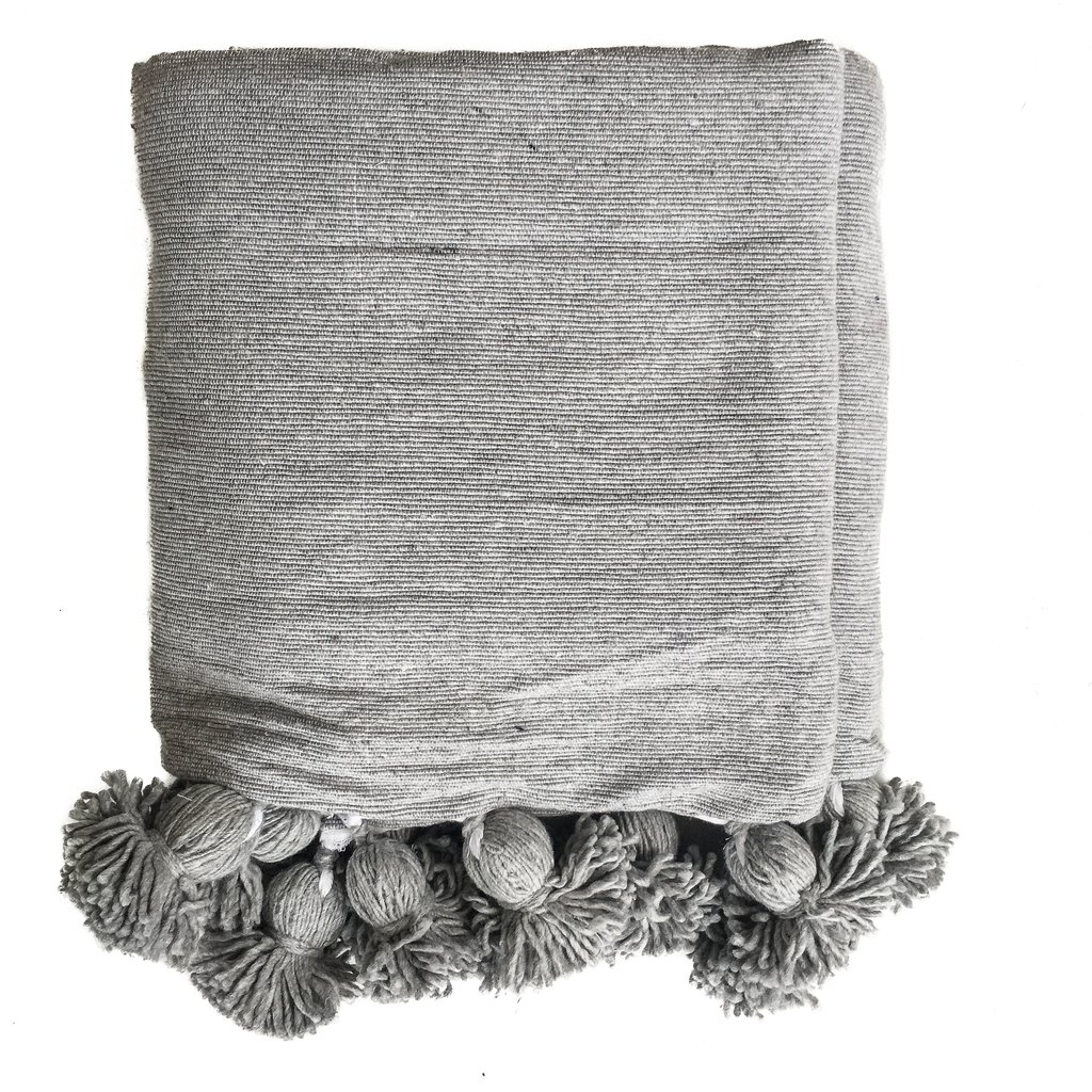 Moroccan Pom Pom Blanket Gray Eclectic Goods Eclectic