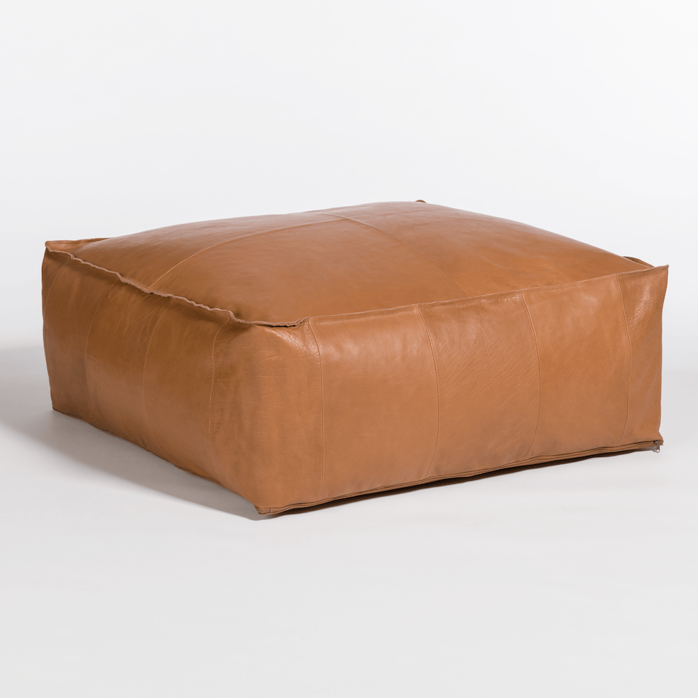 Palma Leather Ottoman Pouf Eclectic Goods Eclectic Goods