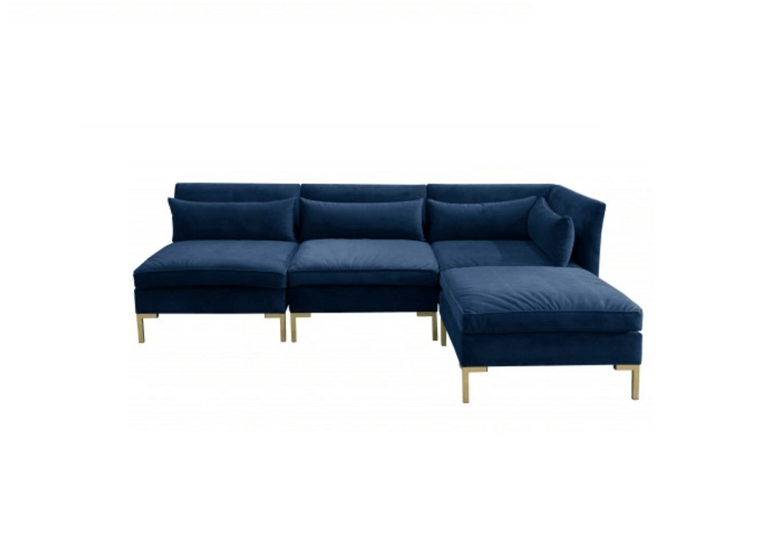 Ava sofa with chaise navy eclectic goods for Ava nailhead chaise