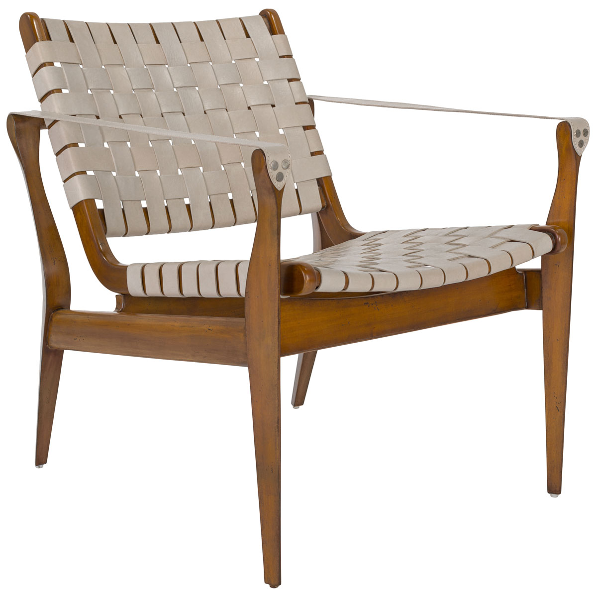 Eclectic Style To Leather Accent Chair: Woven Leather Safari Chair- White
