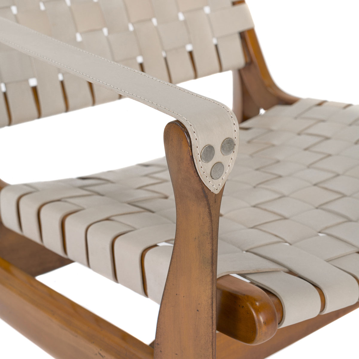 Woven Leather Safari Chair  White