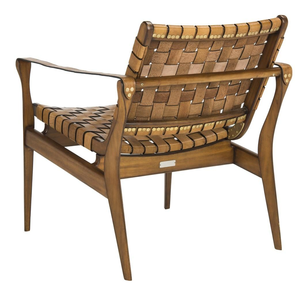 Woven Leather Safari Chair Tan Eclectic Goods