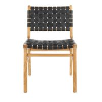 Scandinavian woven leather teak dining chair