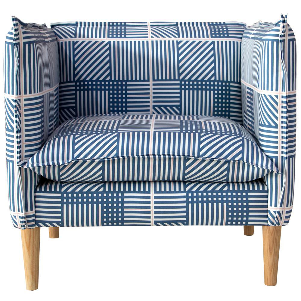 Modern Plaid Chair Blush Blue Eclectic Goods Eclectic