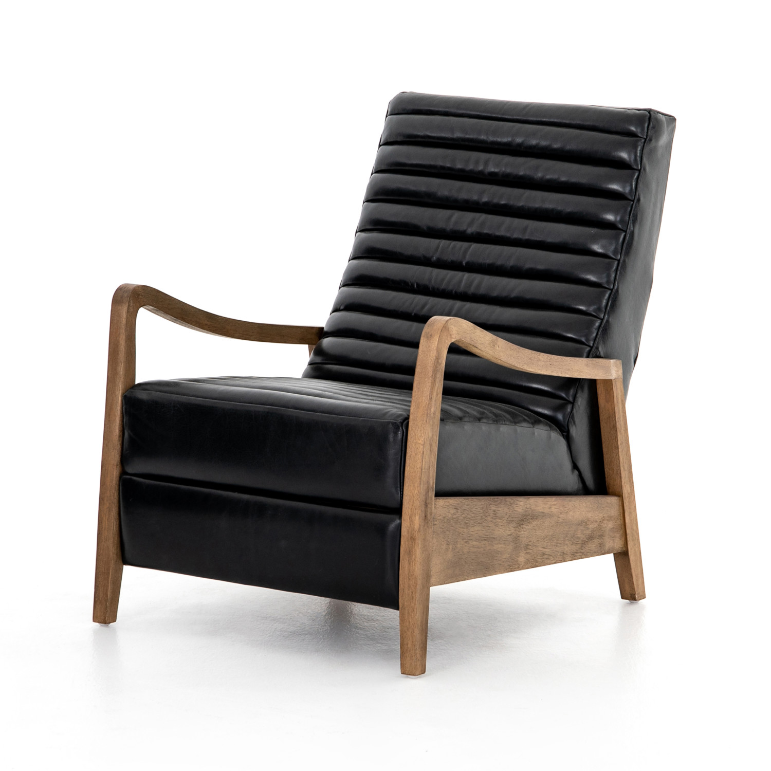 Picture of: Drake Mid Century Recliner Ebony Distressed Leather Eclectic Goods Eclectic Goods